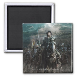 Aragorn Leading on Horse 2 Inch Square Magnet