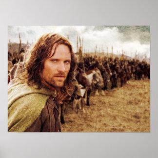 Aragorn más la línea de caballos póster