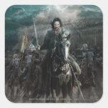 Aragorn que lleva en caballo calcomanías cuadradas