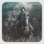 Aragorn que lleva en caballo calcomanías cuadradases