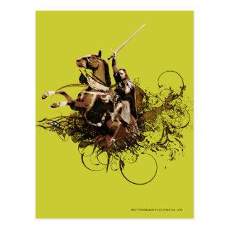 Aragorn Riding a Horse Vector Collage Postcard