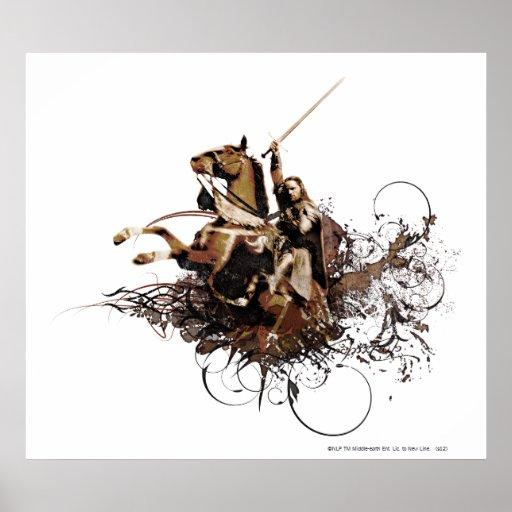 Aragorn Riding a Horse Vector Collage Poster