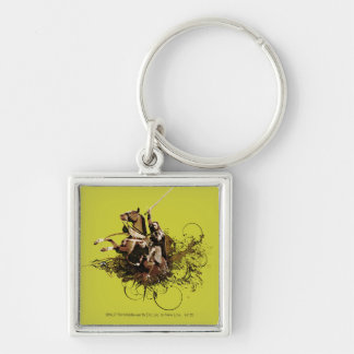 Aragorn Riding a Horse Vector Collage Silver-Colored Square Keychain