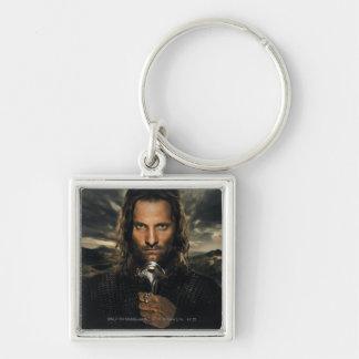 Aragorn Sword Down Silver-Colored Square Keychain