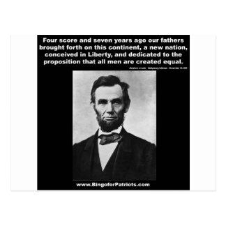 Araham Lincoln's Gettysburg Address Postcard