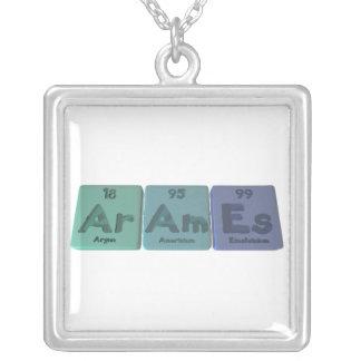 Arames-Ar-Am-Es-Argon-Americium-Einsteinium Square Pendant Necklace