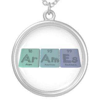 Arames-Ar-Am-Es-Argon-Americium-Einsteinium Round Pendant Necklace