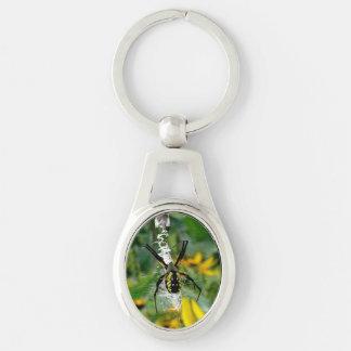 Araña amarilla llavero plateado ovalado