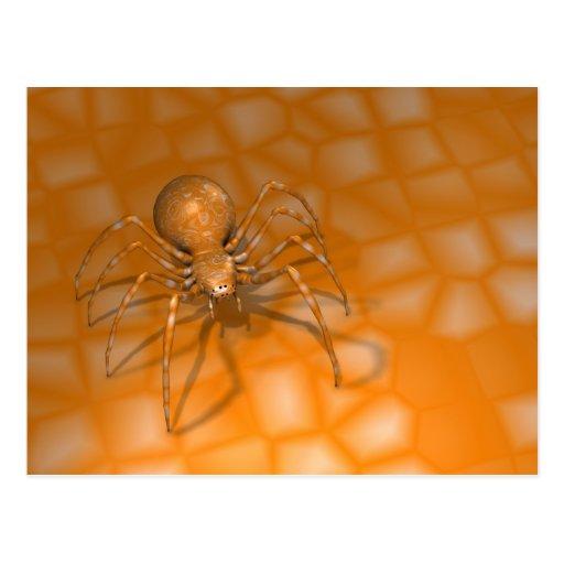 Araña anaranjada traviesa tarjetas postales