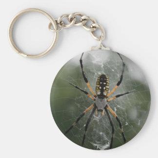 Araña/Argiope enormes del amarillo y del negro Llavero Redondo Tipo Pin