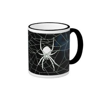 Araña blanca en tela, correas taza de café