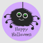 Araña borrosa de Toon del feliz Halloween Pegatina Redonda