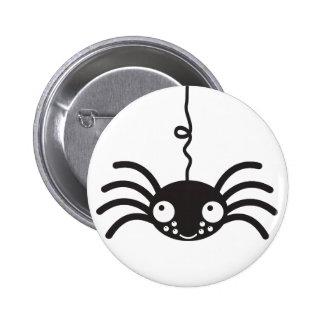 araña colgante linda con pocos ojos pin redondo de 2 pulgadas