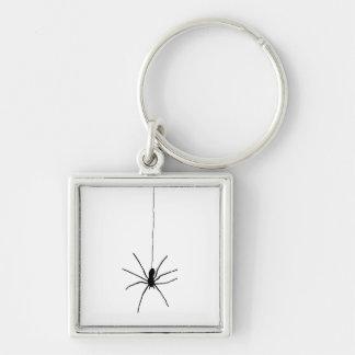 Araña colgante llavero cuadrado plateado