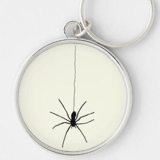 Araña colgante llavero redondo plateado