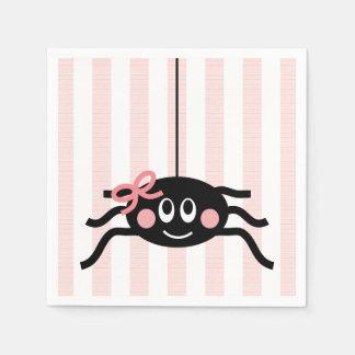 Araña con el arco rosado servilletas desechables