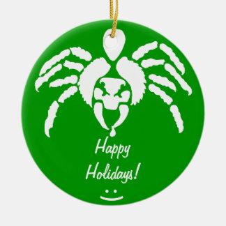 Araña con veneno en colmillo adorno redondo de cerámica
