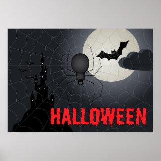 Araña de Halloween en escena de la noche de Póster