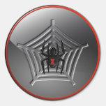 Araña de la viuda negra de Halloween en un Etiquetas Redondas