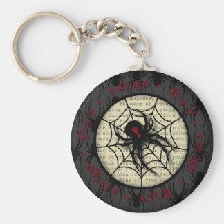 Araña de la viuda negra del abucheo y texto espelu llavero redondo tipo pin