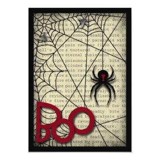 """Araña de la viuda negra del abucheo y texto invitación 5"""" x 7"""""""