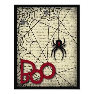 """Araña de la viuda negra del abucheo y texto invitación 4.25"""" x 5.5"""""""