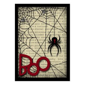 Araña de la viuda negra del abucheo y texto tarjetas de visita grandes