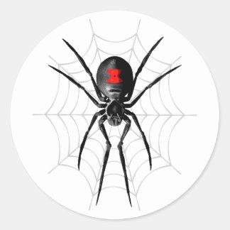 Araña de la viuda negra etiquetas redondas