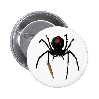 araña de la viuda negra pin redondo de 2 pulgadas