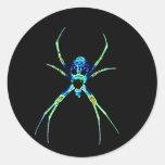 Araña de neón pegatina redonda