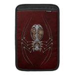 Araña de Steampunk en de color rojo oscuro Fundas Macbook Air