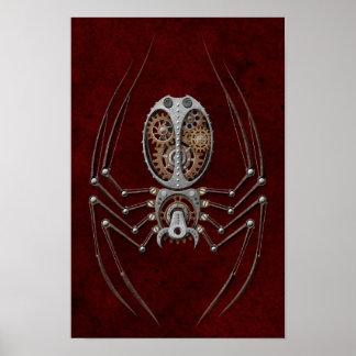 Araña de Steampunk en de color rojo oscuro Poster
