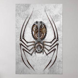 Araña de Steampunk en el acero áspero Impresiones