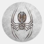 Araña de Steampunk en el acero áspero Pegatina Redonda