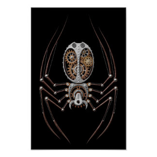 Araña de Steampunk en negro Posters