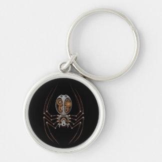 Araña de Steampunk, fondo negro Llavero Redondo Plateado