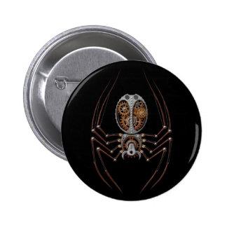 Araña de Steampunk, fondo negro Pin Redondo De 2 Pulgadas
