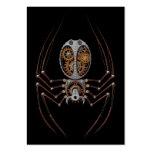 Araña de Steampunk, fondo negro Tarjetas De Visita