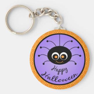 Araña de Toon del feliz Halloween Llavero Redondo Tipo Pin