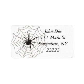 Araña del bicho etiqueta de dirección