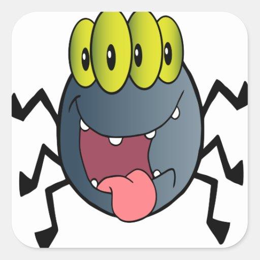 Araña del dibujo animado pegatinas cuadradas