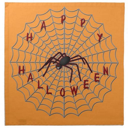 Araña del feliz Halloween en servilletas del Web