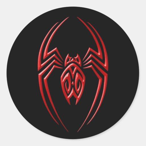 Araña del hierro - rojo y negro pegatina redonda