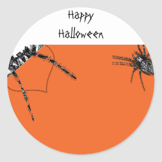 Araña del Tarantula que se arrastra en el naranja  Etiqueta Redonda