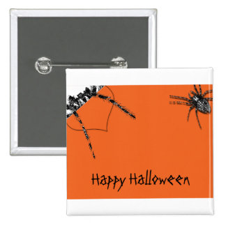 Araña del Tarantula que se arrastra en el naranja  Pin Cuadrada 5 Cm
