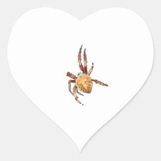 Araña del tejedor del orbe del jardín pegatina en forma de corazón