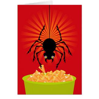 Araña divertida de Halloween que roba las Tarjeta De Felicitación