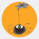 Araña divertida pegatina redonda
