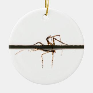 Araña en el agua adorno navideño redondo de cerámica