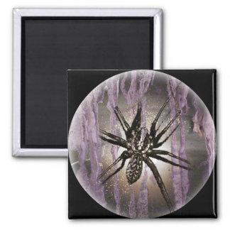 Araña en púrpura imán cuadrado